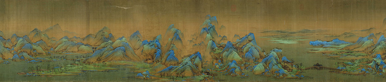 Panorama of a section of A Thousand Li of Mountains and Rivers, by Wang Ximeng from the 12th-century Song Dynasty