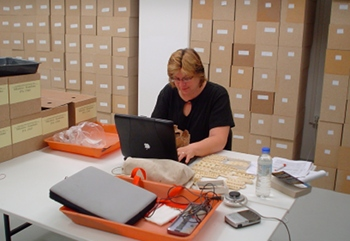 Heather Hecht Edgar (University of New Mexico) conducting research at the Czech National Museum, 2005