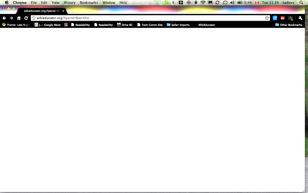 This is what comes up when I click on my userpage link: Watchlist