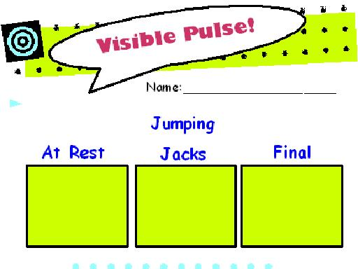 Line graph, individual tables for charting each person's pulse rate,