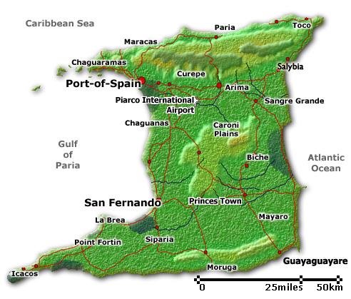Trinidad And Tobago Printable Map