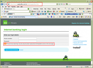 Phishing web site : note URL and how they cleverly change the security method on the following screen)