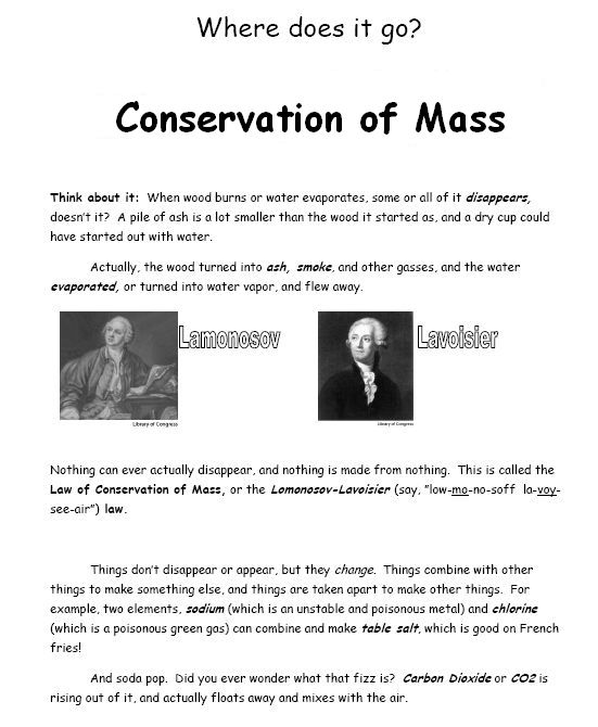 Law of conservation of matter worksheet middle school