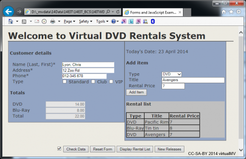 DVD Rentals form showing table and totals