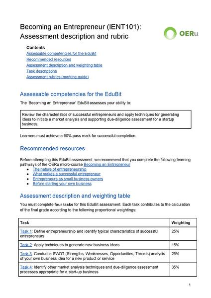 File:Assessment description and rubrics - IENT101.pdf - WikiEducator