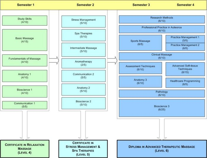 Structure of the Otago Polytechnic Massage Therapy programmes