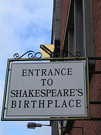 Entrance to Shakespeare's Birthplace sign-13Feb2005.jpg