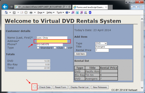 DVD Rentals form showing error and validation check box