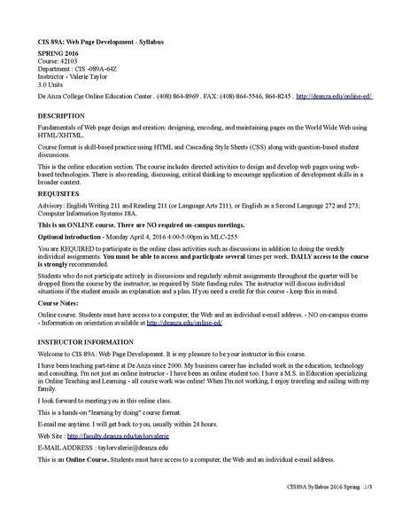 File:CIS89A Web Development Syllabus pdf - WikiEducator