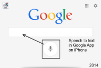 2014 Screen Capture from iPhone Google App showing Speech to text