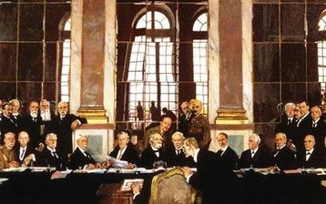 The Signing of the Peace Treaty in the Hall of Mirrors, Versailles, 28 June 1919, by Sir William Orpen