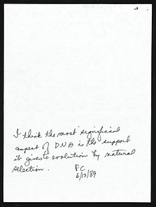 Image: Note by Francis Crick.