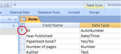database how to find key