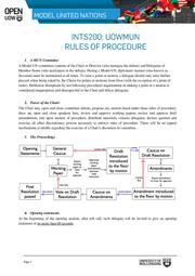 Rules of Procedure For UOW Model United Nations
