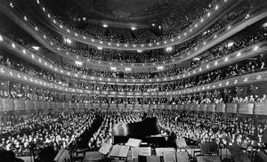 A full house, seen from the rear of the stage, at the Metropolitan Opera House for a concert by pianist Josef Hofmann, November 28, 1937.