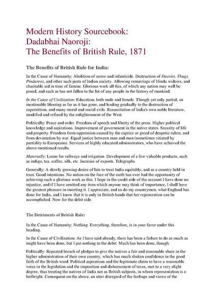 dadabhai naoroji the benefits of british rule